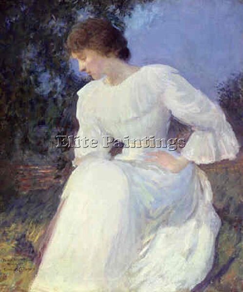 EDMUND CHARLES TARBELL PORTRAIT OF A WOMAN IN WHITE ATN ARTIST PAINTING HANDMADE
