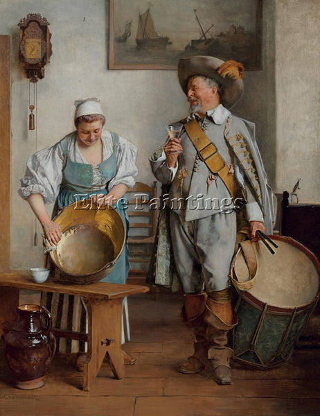 AUSTRIAN EDUARD CHARLEMONT A DRINK FOR THE DRUMMER 1889 ARTIST PAINTING HANDMADE
