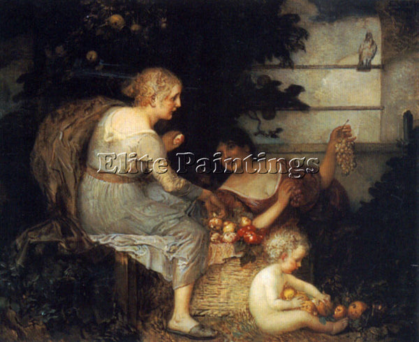AUSTRIAN EDUARD VEITH AN ALLEGORY OF PLENTY ARTIST PAINTING HANDMADE OIL CANVAS