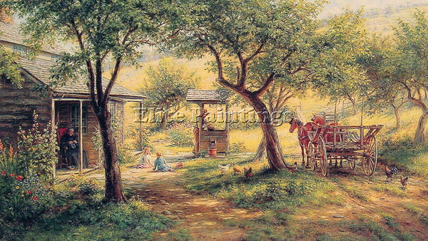 AMERICAN EDWARD LAMSON HENRY STOPPING TO WATER HIS HORSES ARTIST PAINTING CANVAS - Oil Paintings Gallery Repro