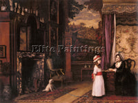 BRITISH EGLEY WILLIAM MAW THE MORNING LESSON ARTIST PAINTING HANDMADE OIL CANVAS