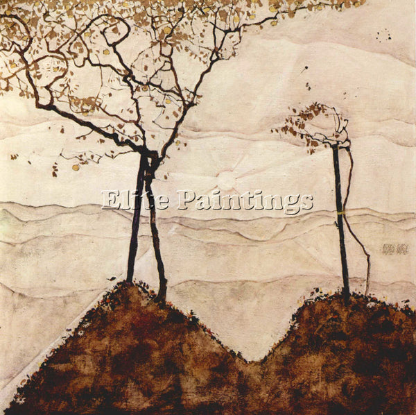 EGON SCHIELE AUTUMN SUN AND TREES ARTIST PAINTING REPRODUCTION HANDMADE OIL DECO