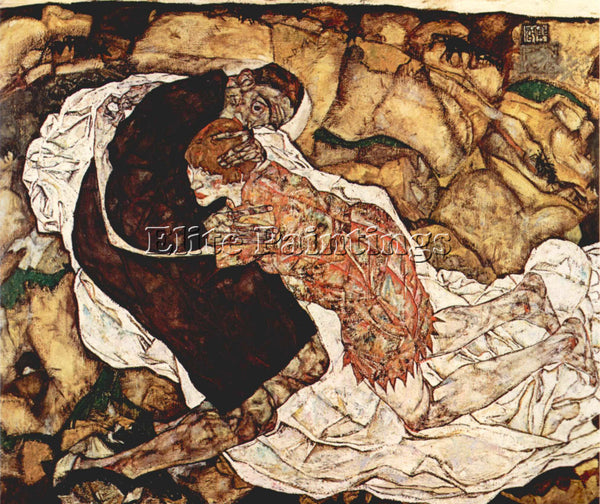 EGON SCHIELE DEATH AND THE WOMAN ARTIST PAINTING REPRODUCTION HANDMADE OIL REPRO