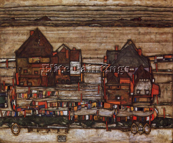EGON SCHIELE HOUSES WITH LAUNDRY LINES AND SUBURBAN ARTIST PAINTING REPRODUCTION