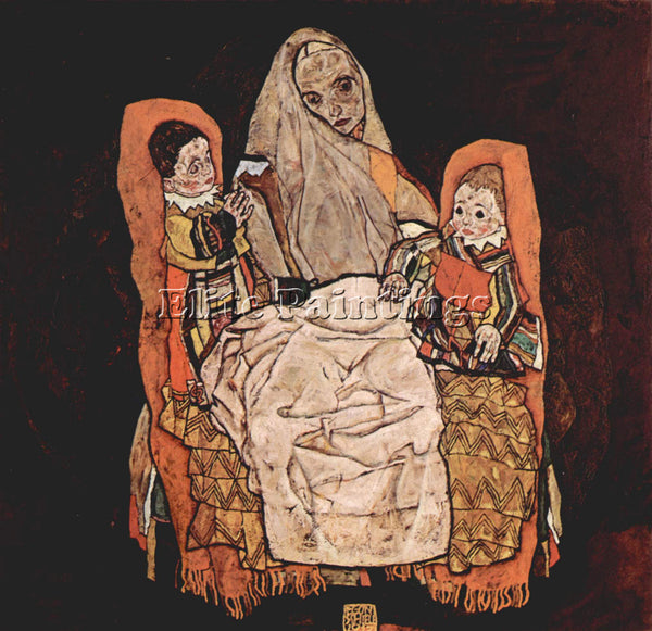 EGON SCHIELE PARENT WITH TWO CHILDREN THE MOTHER  ARTIST PAINTING REPRODUCTION