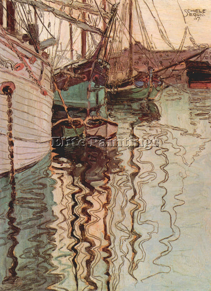 EGON SCHIELE SAILBOATS IN WELLENBEWEGTEM WATER THE PORT OF TRIESTE REPRODUCTION