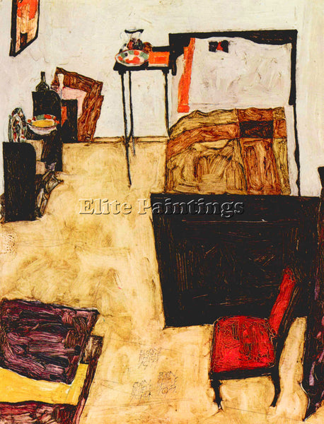 EGON SCHIELE SCHIELE S LIVING ROOM IN NEULENGBACH ARTIST PAINTING REPRODUCTION