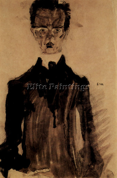 EGON SCHIELE SELF PORTRAIT IN A BLACK ROBE ARTIST PAINTING REPRODUCTION HANDMADE