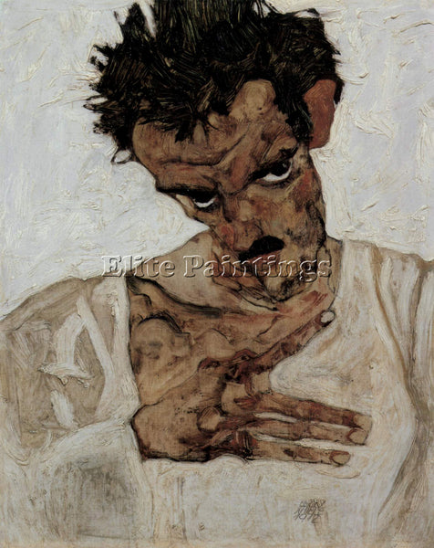 EGON SCHIELE SELF PORTRAIT WITH LOWERED HEAD ARTIST PAINTING HANDMADE OIL CANVAS
