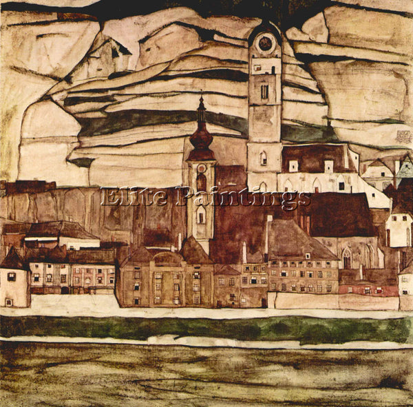 EGON SCHIELE STONE ON THE DANUBE II ARTIST PAINTING REPRODUCTION HANDMADE OIL