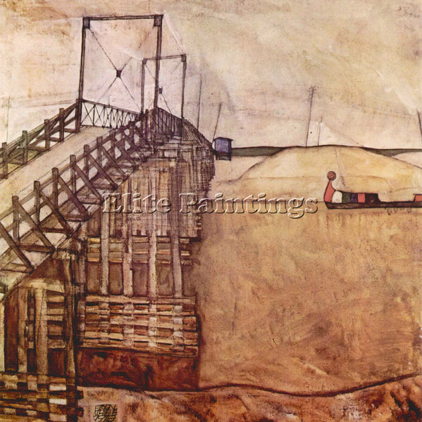EGON SCHIELE THE BRIDGE ARTIST PAINTING REPRODUCTION HANDMADE CANVAS REPRO WALL