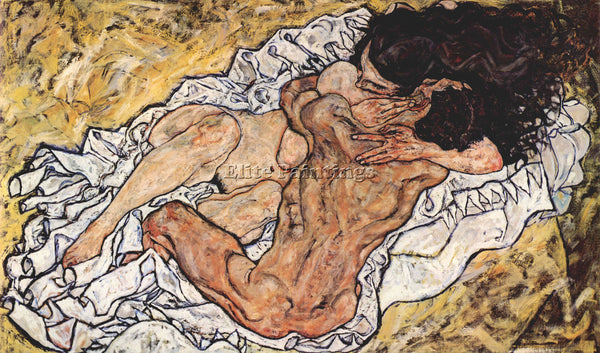 EGON SCHIELE THE EMBRACE ARTIST PAINTING REPRODUCTION HANDMADE CANVAS REPRO WALL