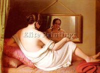 FRENCH EINSLE ANTON A WOMAN BEFORE A MIRROR ARTIST PAINTING HANDMADE OIL CANVAS