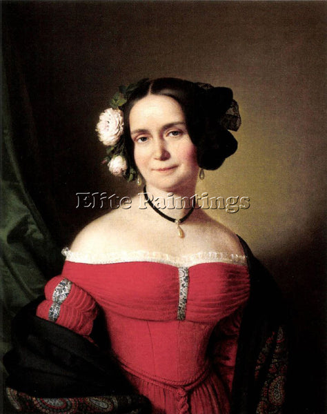 FRENCH EINSLE ANTON WOMAN IN RED DRESS 1838 ARTIST PAINTING HANDMADE OIL CANVAS