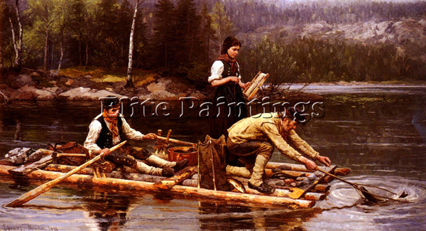 NORWAY EKENAES JAHN FISCHFANG AM FLUSSE ARTIST PAINTING REPRODUCTION HANDMADE