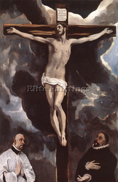 EL GRECO CHRIST ON THE CROSS ADORED BY DONORS 1585 90 ARTIST PAINTING HANDMADE
