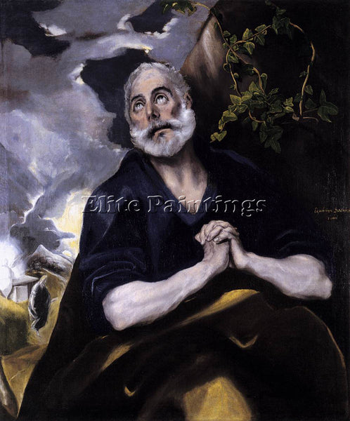 GREEK EL GRECO GREST PETER IN PENITENCE ARTIST PAINTING REPRODUCTION HANDMADE