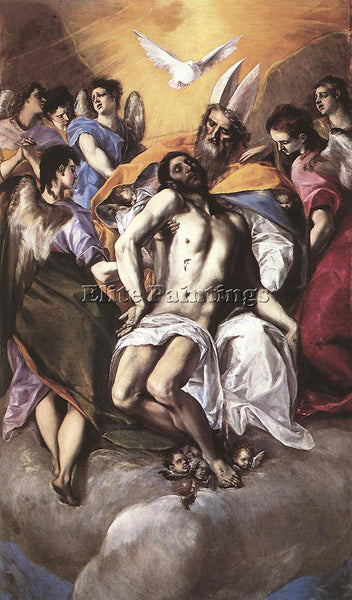 EL GRECO THE HOLY TRINITY 1577 ARTIST PAINTING REPRODUCTION HANDMADE OIL CANVAS