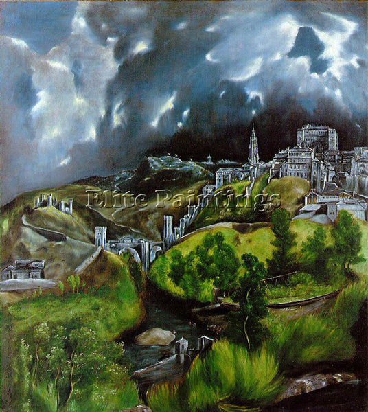 EL GRECO VIEW OF TOLEDO ARTIST PAINTING REPRODUCTION HANDMADE CANVAS REPRO WALL