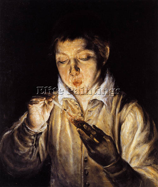 GREEK EL GRECO A BOY BLOWING ON AN EMBER TO LIGHT A CANDLE ARTIST PAINTING REPRO