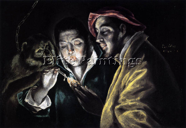EL GRECO ALLEGORY BOY LIGHTING CANDLE IN COMPANY APE AND FOOL FABULA OIL CANVAS