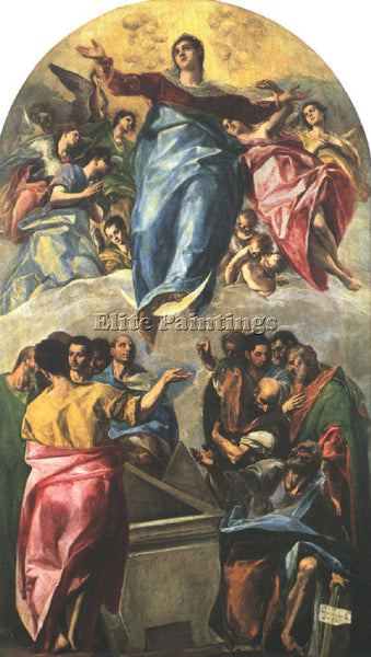 GREEK EL GRECO ASSUMPTION OF THE VIRGIN 1577 ARTIST PAINTING HANDMADE OIL CANVAS