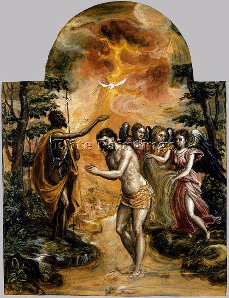 GREEK EL GRECO BAPTISM OF CHRIST 1568 ARTIST PAINTING REPRODUCTION HANDMADE OIL
