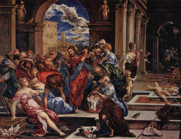GREEK EL GRECO CHRIST DRIVING THE TRADERS FROM THE TEMPLE 1570 PAINTING HANDMADE