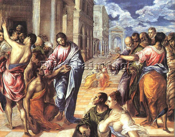 GREEK EL GRECO CHRIST HEALING THE BLIND 1578 ARTIST PAINTING HANDMADE OIL CANVAS