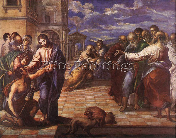 GREEK EL GRECO CHRIST HEALING THE BLIND MAN 1560 ARTIST PAINTING HANDMADE CANVAS