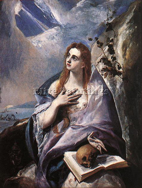 GREEK EL GRECO MARY MAGDALENE IN PENITENCE ARTIST PAINTING REPRODUCTION HANDMADE