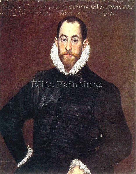 GREEK EL GRECO PORTRAIT OF A GENTLEMAN FROM CASA DE LEIVA 1580 PAINTING HANDMADE