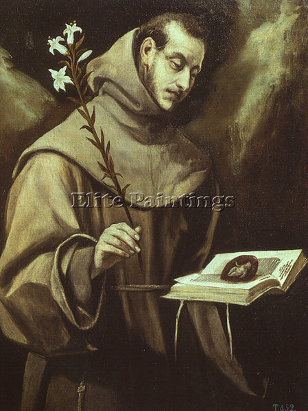 GREEK EL GRECO ST ANTONY OF PADUA ARTIST PAINTING REPRODUCTION HANDMADE OIL DECO