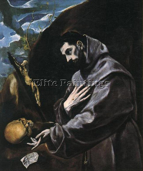GREEK EL GRECO ST FRANCIS PRAYING ARTIST PAINTING REPRODUCTION HANDMADE OIL DECO