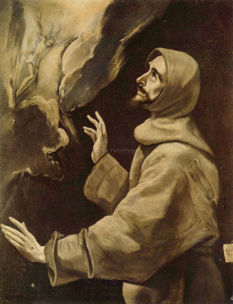 GREEK EL GRECO ST FRANCIS RECEIVING THE STIGMATA ARTIST PAINTING HANDMADE CANVAS