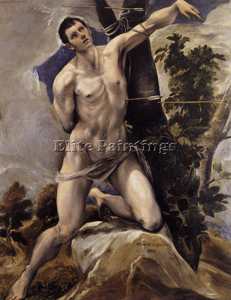 GREEK EL GRECO ST SEBASTIAN ARTIST PAINTING REPRODUCTION HANDMADE OIL CANVAS ART