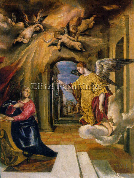 GREEK EL GRECO THE ANNUNCIATION 1576 ARTIST PAINTING REPRODUCTION HANDMADE OIL