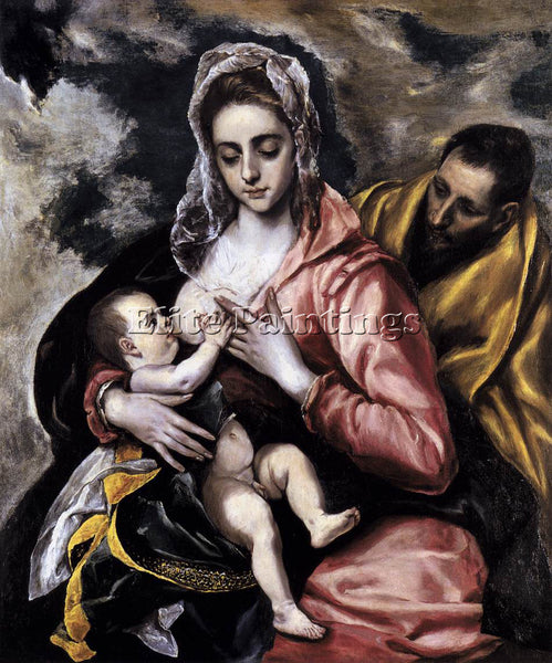 GREEK EL GRECO THE HOLY FAMILY ARTIST PAINTING REPRODUCTION HANDMADE OIL CANVAS