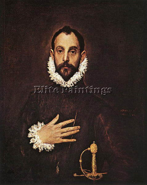 GREEK EL GRECO THE KNIGHT WITH HIS HAND ON HIS BREAST ARTIST PAINTING HANDMADE