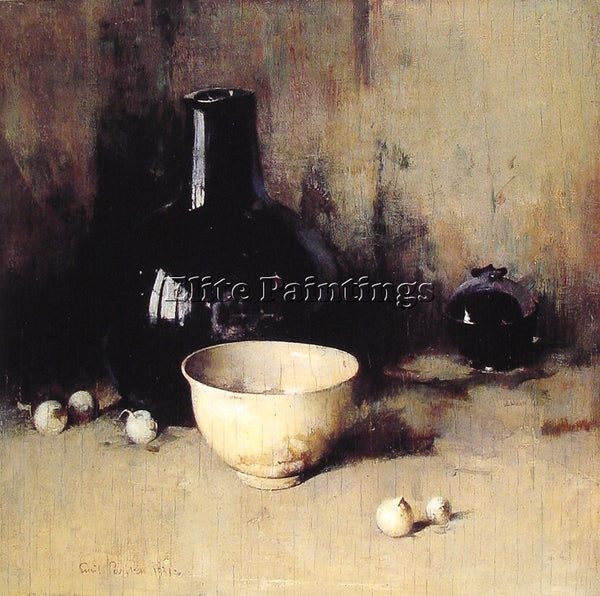 AMERICAN EMIL CARLSEN STILL LIFE WITH SELF PORTRAIT REFLECTION PAINTING HANDMADE