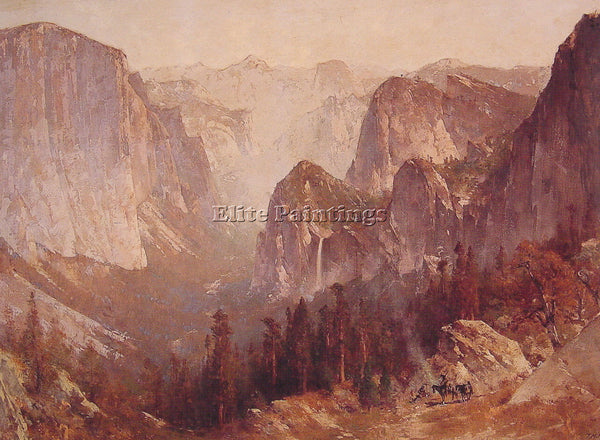 THOMAS HILL ENCAMPMENT SURROUNDED BY MOUNTAINS ARTIST PAINTING REPRODUCTION OIL