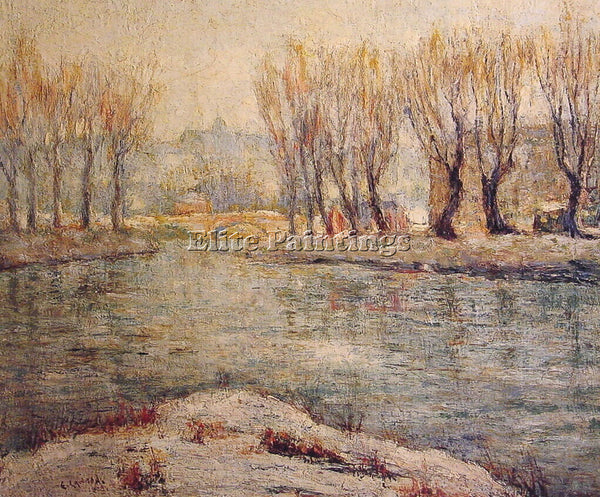 ERNEST LAWSON END OF WINTER THE BOATHOUSE ON THE HARLEM RIVER NEW YORK PAINTING