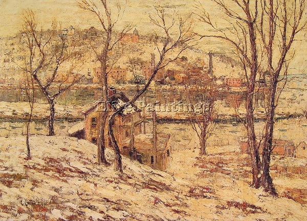 ERNEST LAWSON WINTER ON THE HARLEM RIVER ARTIST PAINTING REPRODUCTION HANDMADE