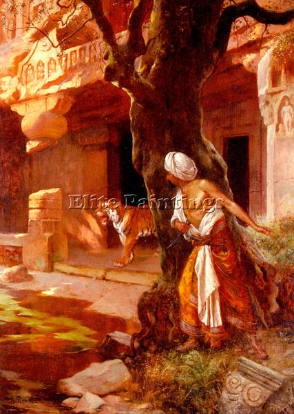 RUDOLF ERNST AWAITING THE TIGER ARTIST PAINTING REPRODUCTION HANDMADE OIL CANVAS