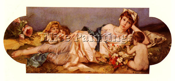 RUDOLF ERNST ODALISQUE AVEC PUTTIS ARTIST PAINTING REPRODUCTION HANDMADE OIL ART