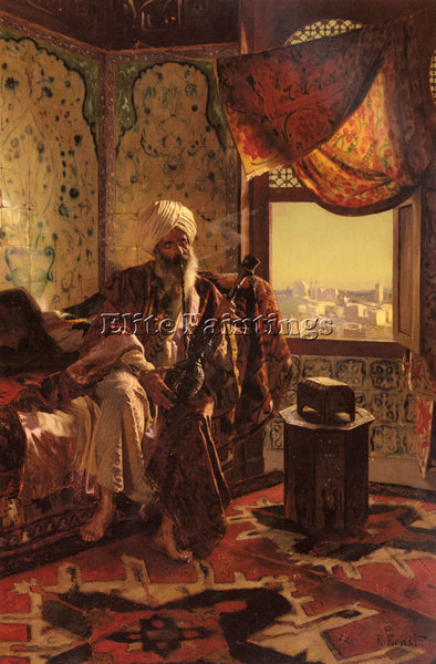 RUDOLF ERNST SMOKING THE HOOKAH ARTIST PAINTING REPRODUCTION HANDMADE OIL CANVAS