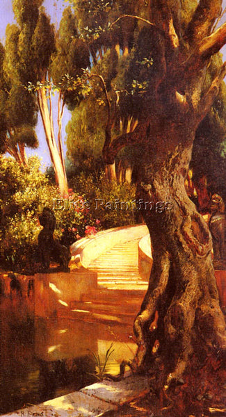 RUDOLF ERNST THE STAIRCASE UNDER THE TREES ARTIST PAINTING REPRODUCTION HANDMADE