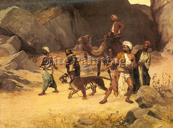 RUDOLF ERNST THE TIGER HUNT ARTIST PAINTING REPRODUCTION HANDMADE OIL CANVAS ART