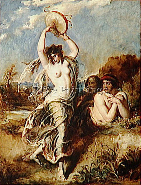 WILLIAM ETTY BACCHANTE PLAYING THE TAMBOURINE ARTIST PAINTING REPRODUCTION OIL