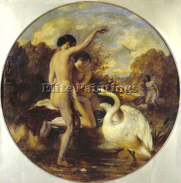 WILLIAM ETTY FEMALE BATHERS SURPRISED BY A SWAN ARTIST PAINTING REPRODUCTION OIL